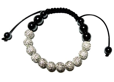 bead bracelet for 11 pave swarovski and hematite macrame