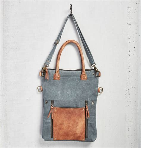 Mona Tote Bag Brown fold convertible tote bag blue by mona b