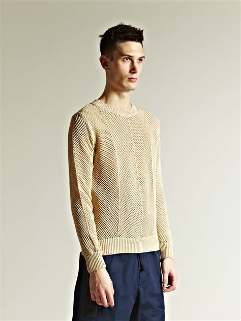 dries noten mens diagonal yarn sweater in for lyst