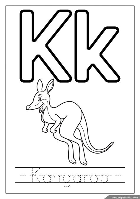 K Kangaroo Coloring Page by Alphabet Coloring Pages Letters K T