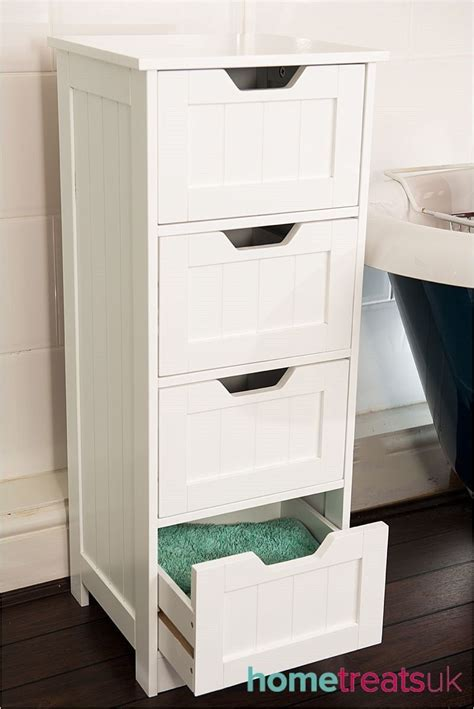 white freestanding bathroom cabinet tall 4 drawer storage