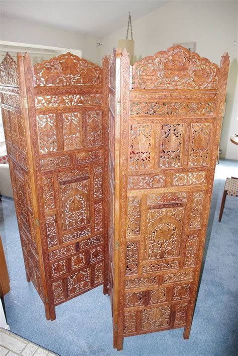 Thai Indonesian Hand Carved Wood Room Divider Screen 4 Carved Wood Room Divider
