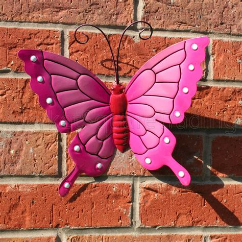 garden decoration arts butterfly large pink metal butterflies wall outdoor