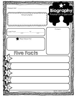 biography graphic organizer 1st grade mini biography organizer writing paper by jessica heeren