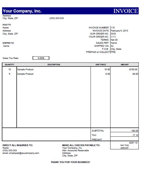 Template For Invoice Free invoice template free e commercewordpress