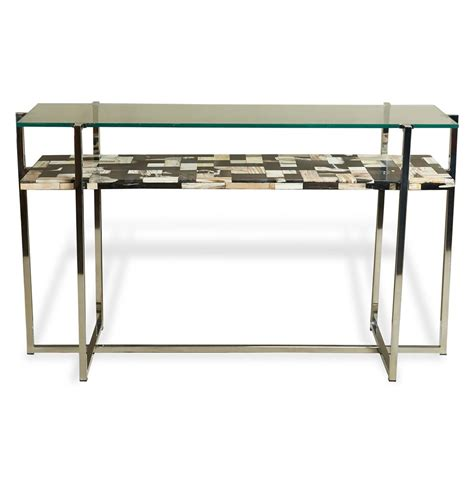 glass console table bellaver regency wood mosaic glass console table