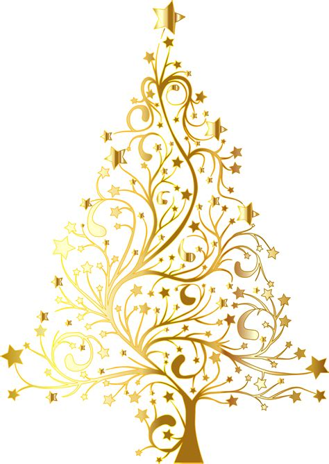 gold christmas tree clipart 26