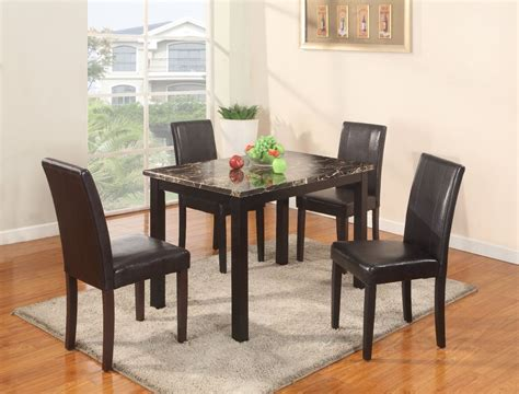 Marble Dining Room Table Set The Room Style 5pc Dining Set 1 Faux Marble Table With 4 Leather Chairs New Ebay