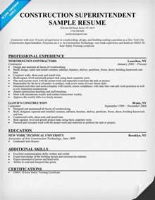 construction superintendent resume sle resumecompanion
