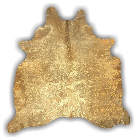 metallic cowhide rug gold hide devore metallic cowhide rug eclectic rugs by kaymanta