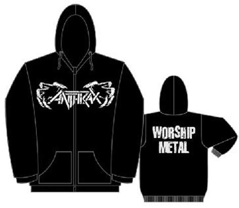 Hoodie Anthrax Worship Metal High Quality anthrax claws on front worship metal on back on a black zip up hooded sweatshirt sale price
