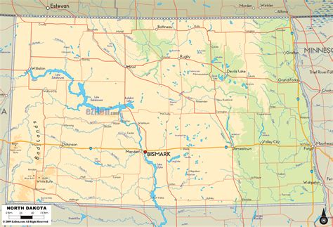 nd map physical map of dakota ezilon maps