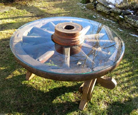 pre cut table tops antique wagon wheel coffee table w 42 quot cut out glass top