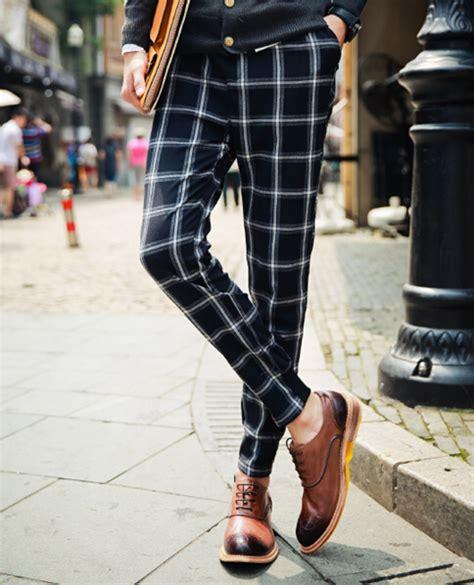 black and white grid pattern pants fresh men pants grid pattern pockets long pants cotton