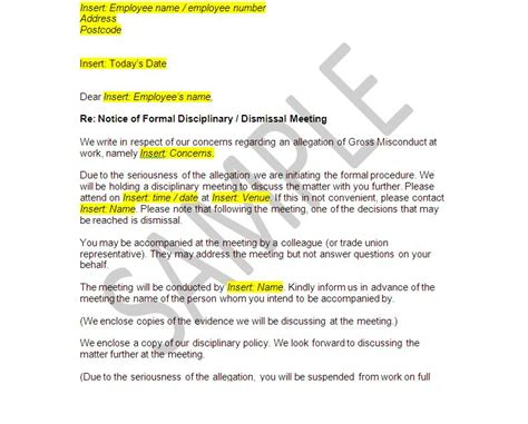 Appeal Letter For Wrongful Termination Gross Misconduct Documents Disciplinary And Dismissal Employer Pack The Stop
