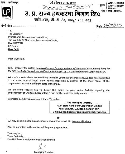 appointment letter of statutory auditor 28 appointment letter of statutory auditor format