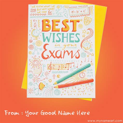 exam good luck card online create with name wishes