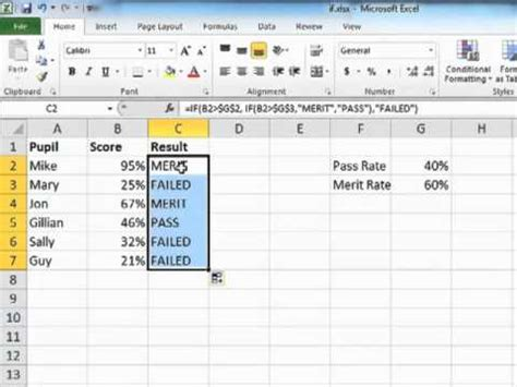 excel tutorial using the if and and or functions learning excel 2010 using nested if statements