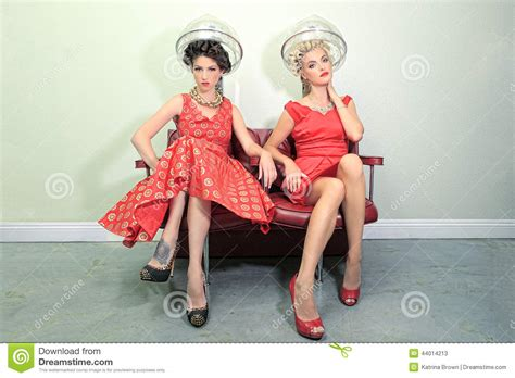 is there a haurdressers day female friends enjoying a day at a hair salon together