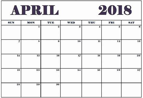printable calendar 2018 to write on blank april 2018 calendar printable