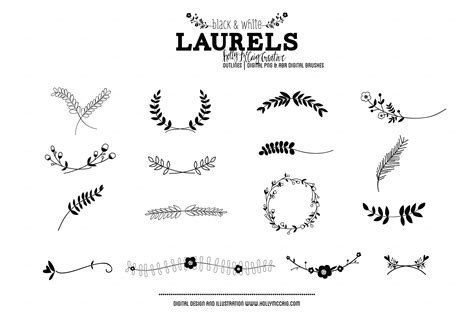 Laurels PNG Photoshop Brush Clipart ~ Illustrations on
