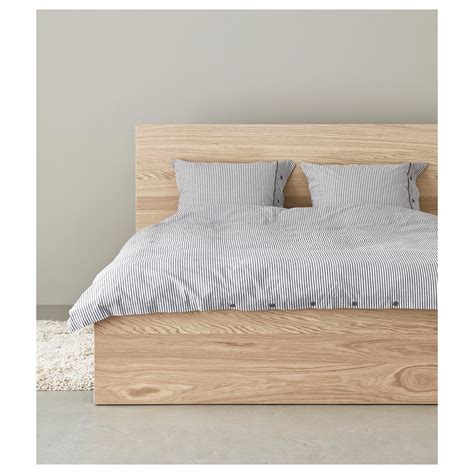 ikea wood bed frame malm bed frame high white stained oak veneer lur 246 y standard double ikea