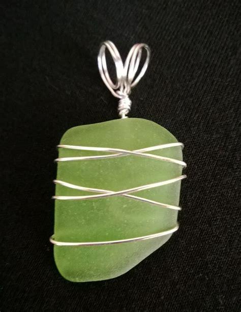 Light Green Sea Glass Pendant Sea Glass And Metal Sea Glass Pendant Light