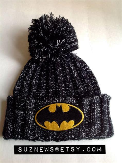 batman knit hat batman knit hat beanie pom pom black knit cuffed