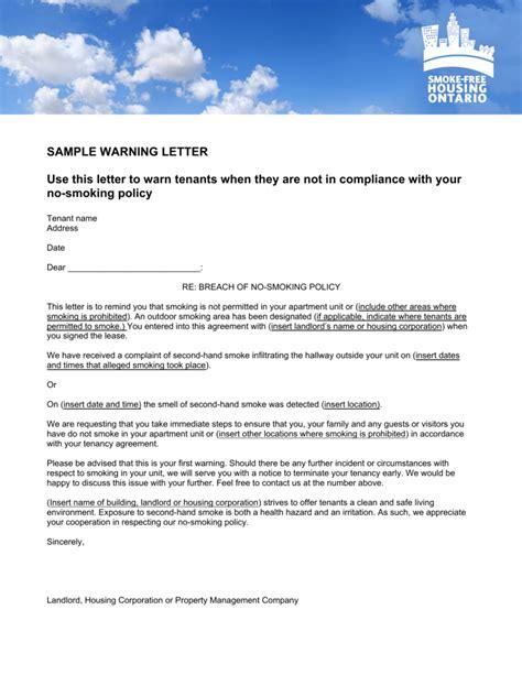 sample warning letter smoke housing ontario