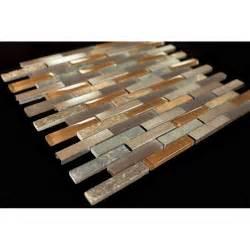 Bronze aluminum multi color slate glass backsplash mosaic tiles