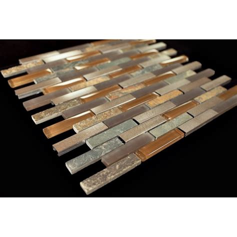 bronze aluminum multi color slate glass backsplash mosaic
