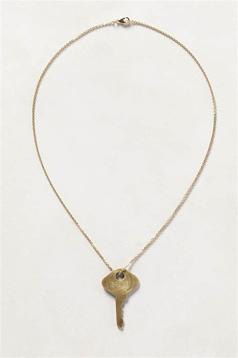 anthropologie dainty giving key necklace in gold lyst
