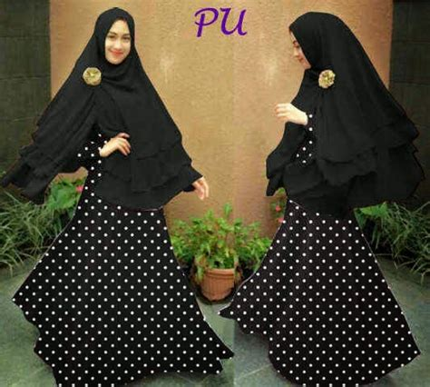 baju muslim gamis polkadot syar i ayuatariolshop distributor supplier gamis tangan pertama
