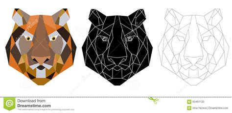 tiger head triangular icon geometric trendy stock