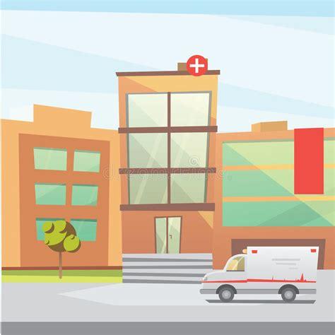 imagenes animadas hospital ejemplo moderno del vector de la historieta del edificio