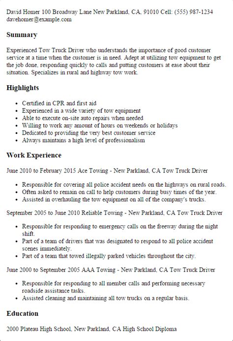 Truck Driver Resume Template by 1 Tow Truck Driver Resume Templates Try Them Now