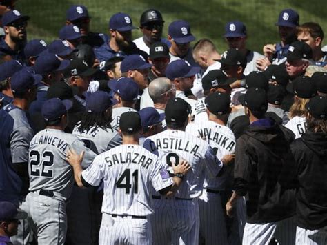 baseball benches clear benches clear five players ejected after padres pitcher