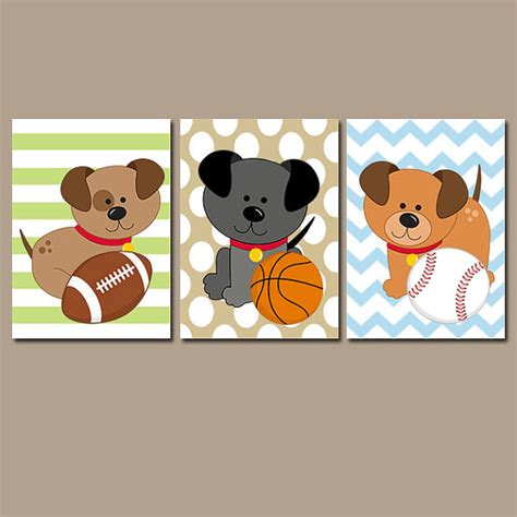 Sports Nursery Wall Decor Puppy Dogs Wall Baby Boy Bedroom Sports Nursery By Trmdesign