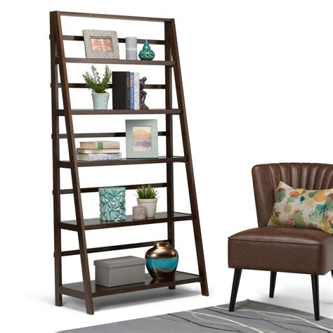 simpli home acadian tobacco brown ladder bookcase axwell3