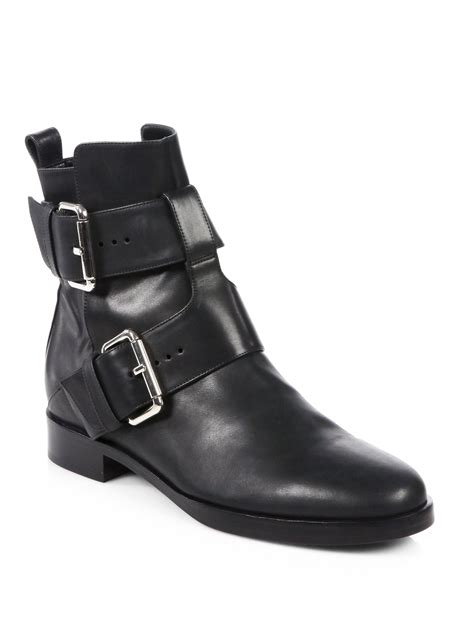 motorcycle boots buckle pierre hardy leather double buckle motorcycle boots in