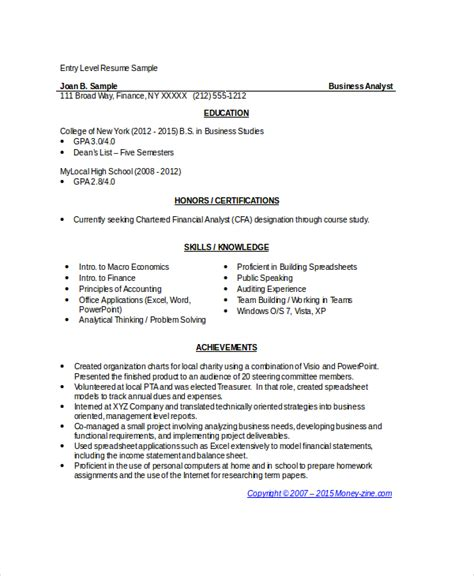 resume sles for business analyst entry level 8 business analyst resumes free sle exle format
