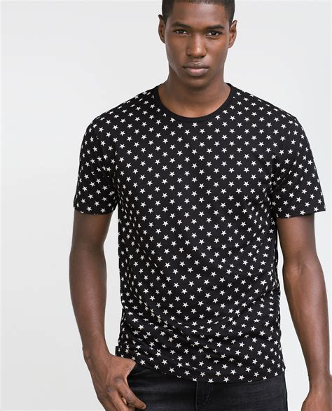 zara micro printed t shirt in black for lyst