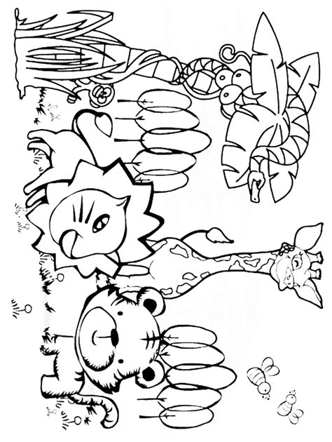 coloring pages animals jungle printable jungle animals coloring pages jungle animals