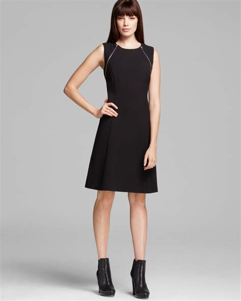 calvin klein zipper shoulder detail fit and flare dress
