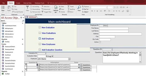 ms access employee database template access employee performance evaluation form templates