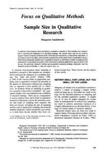 Qualitative Research Paper by Sle Size In Qualitative Research Margarete Sandelowski
