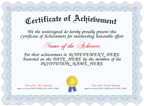 template for a certificate of achievement certificates of achievements certificate templates