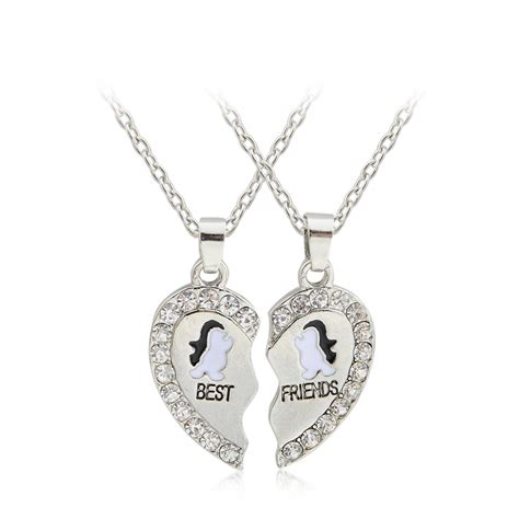 2 pcs new design bff pendant necklace friendship best