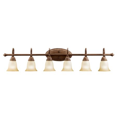 6 bulb bathroom light fixture kichler 5218tzg tannery bronze with gold larissa 48 quot wide