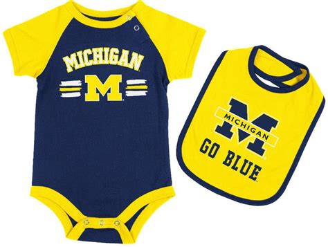 michigan wolverines fan gear michigan wolverines infant dribble onesie and bib set by